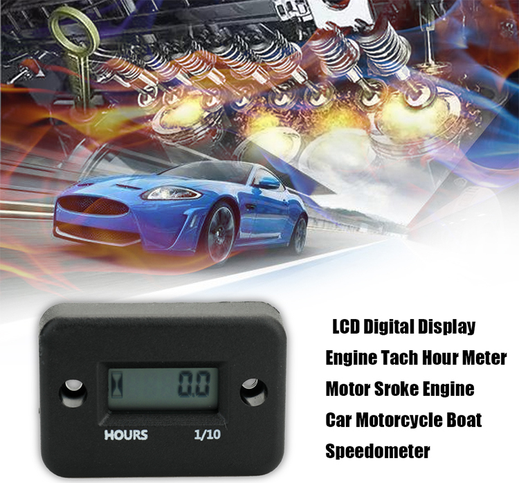 Waterproof LCD Digital Display Engine Tach Hour Meter Motor Sroke Engine Car Motorcycle Boat Speedometer