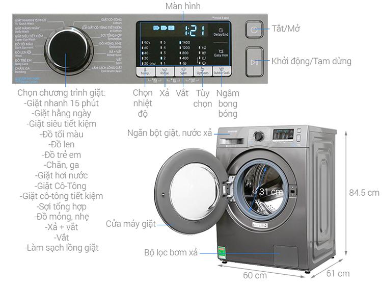 Máy Giặt Cửa Trước Samsung Inverter WW80J54E0BX/SV (8kg) - Hàng Chính Hãng