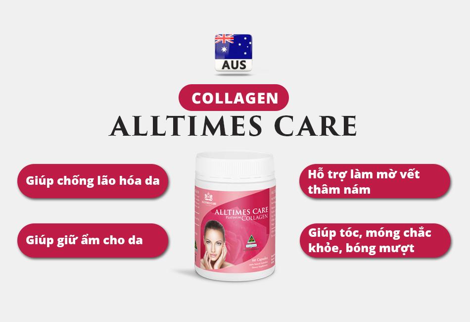 Thực phẩm Bảo vệ Sức khỏe Collagen Alltimes Care (Hộp 60 viên)