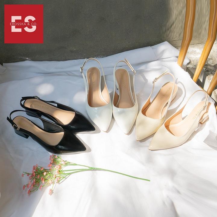 Giày cao gót slingback Erosska mũi nhọn da bóng kiểu dáng basic cao 4cm - EL012 1