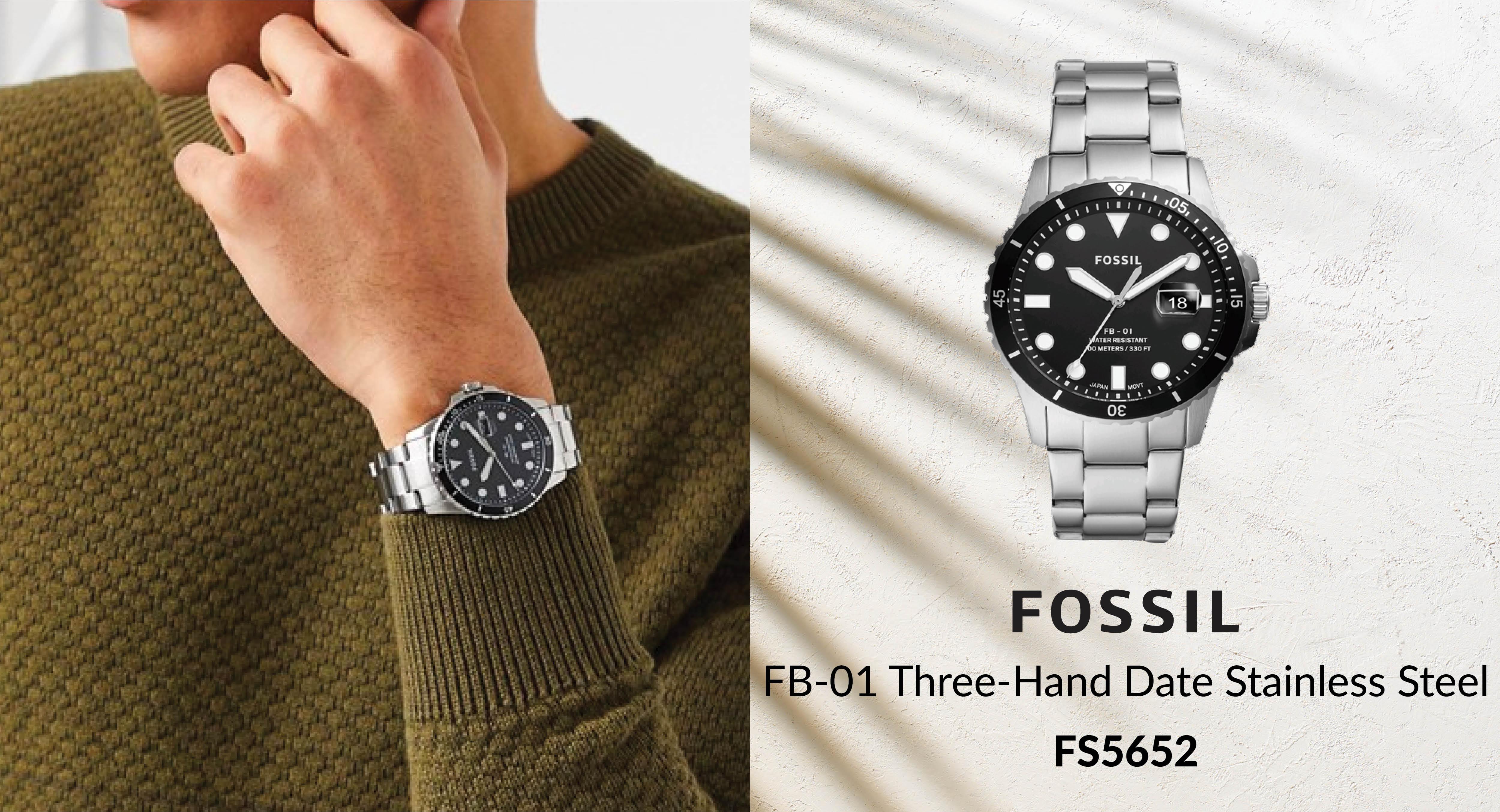 Đồng hồ nam Fossil FS5652 dây kim loại- màu bạc | Đồng hồ thể thao |  ThietBiSo.Co