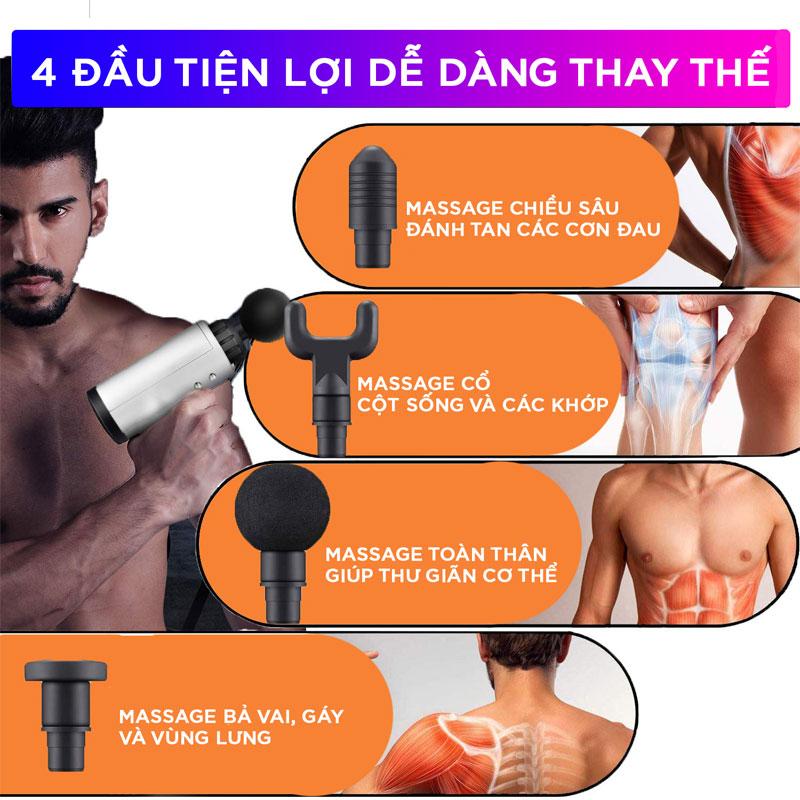 Máy Massage Đa Năng Cầm Tay Fascial Gun Cao Cấp FH-320 - Hỗ Trợ Massage Chuyên Sâu - Giảm đau cơ - Giảm Cứng Khớp - Massage Toàn Thân - Tặng Kèm 4 Đầu Massage 5