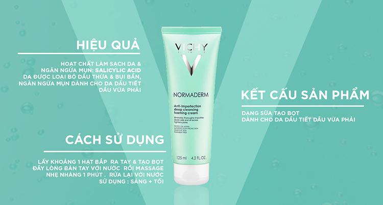 Bộ Sữa Rửa Mặt Dạng Kem Giúp Ngừa Mụn & Se Khít Lỗ Chân Lông Vichy  Normaderm Foaming Cream (125ml) | Tiki.vn