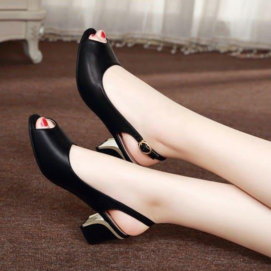 Giày cao gót 5cm hở gót thanh lịch cho nữ 2
