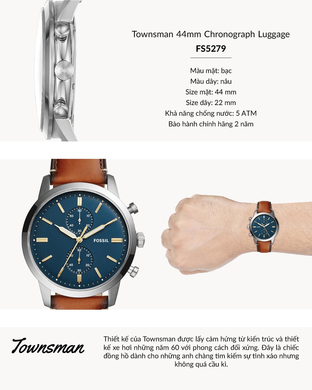 Đồng hồ nam FOSSIL dây da Townsman FS5279 - màu nâu - Đồng hồ thời trang,  casual nam Thương hiệu Fossil | HaiTrieuWatch.com