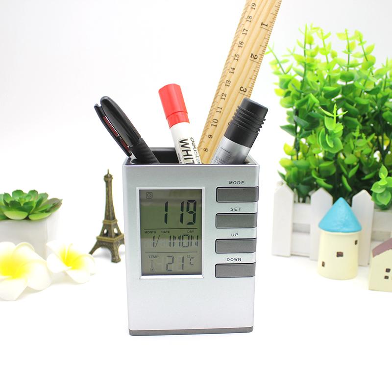 Hộp đựng bút kiêm đồng hồ để bàn V1 hình vuông (Tặng kèm quạt mini cắm USB vỏ nhựa giao màu ngẫu nhiên) 1