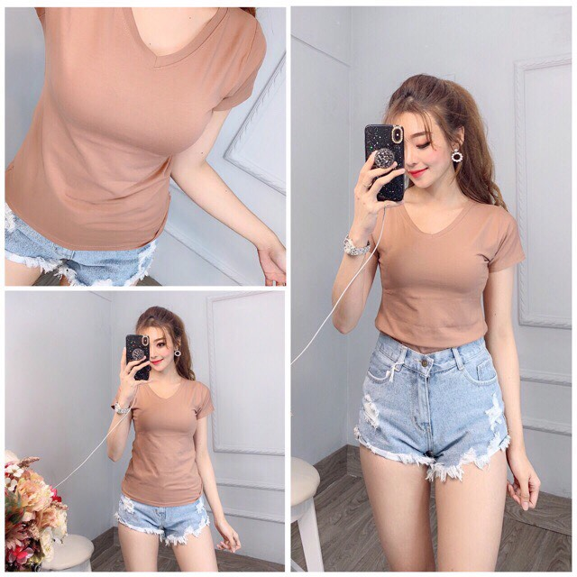 Áo thun nữ trơn cổ tim tay ngắn thun cotton 4 chiều form ôm body MXM ( ANU007 ) 5