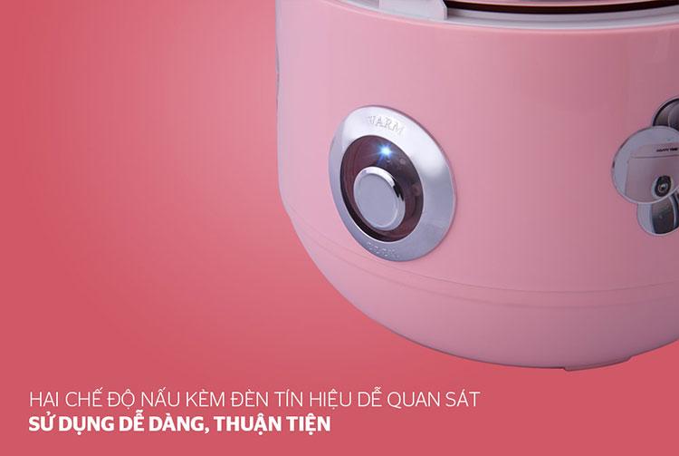Nồi cơm điện nắp gài Sunhouse Happy Time HTD8521P (1.8 Lít) - Hồng - Hàng chính hãng