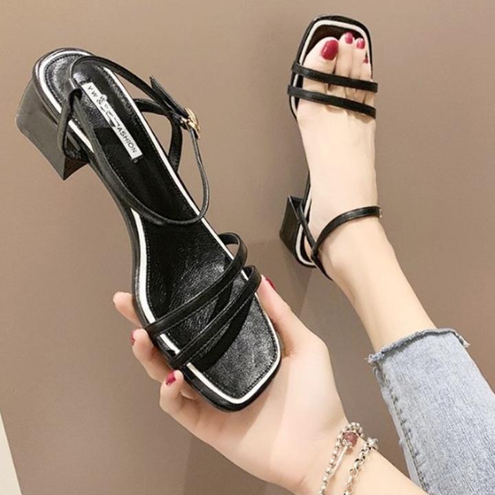 Giày xăng đan nữ quai kép trước gót vuông 5cm quai hậu móc da PU mềm C02 2