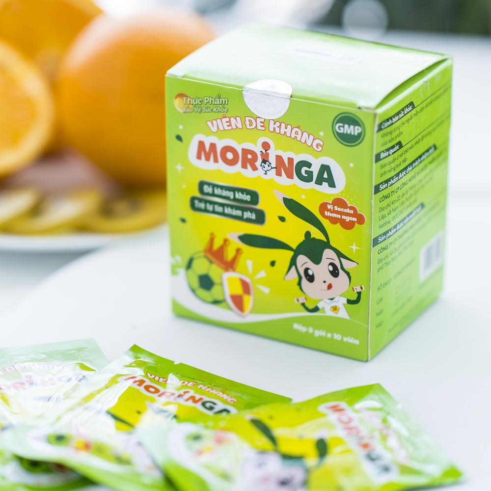 Viên đề kháng Moringa - Giúp tăng sức đề kháng, giảm nguy cơ mắc các bệnh đường hô hấp cho trẻ em - Hộp 8 gói 2