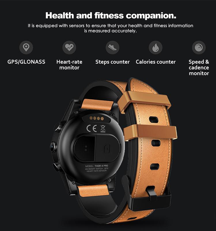 Zeblaze Thor 4 PRO 4G LTE Smart Watch Phone Android 7.1.1 Quad Core 1GB+16GB 320*320 Pixel 5MP Camera 600mAh 1.6-Inch - Brown