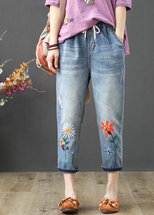 Quần jean bò ngố baggy thêu hoa cúc họa mi chất vải mềm thoáng QB17 4