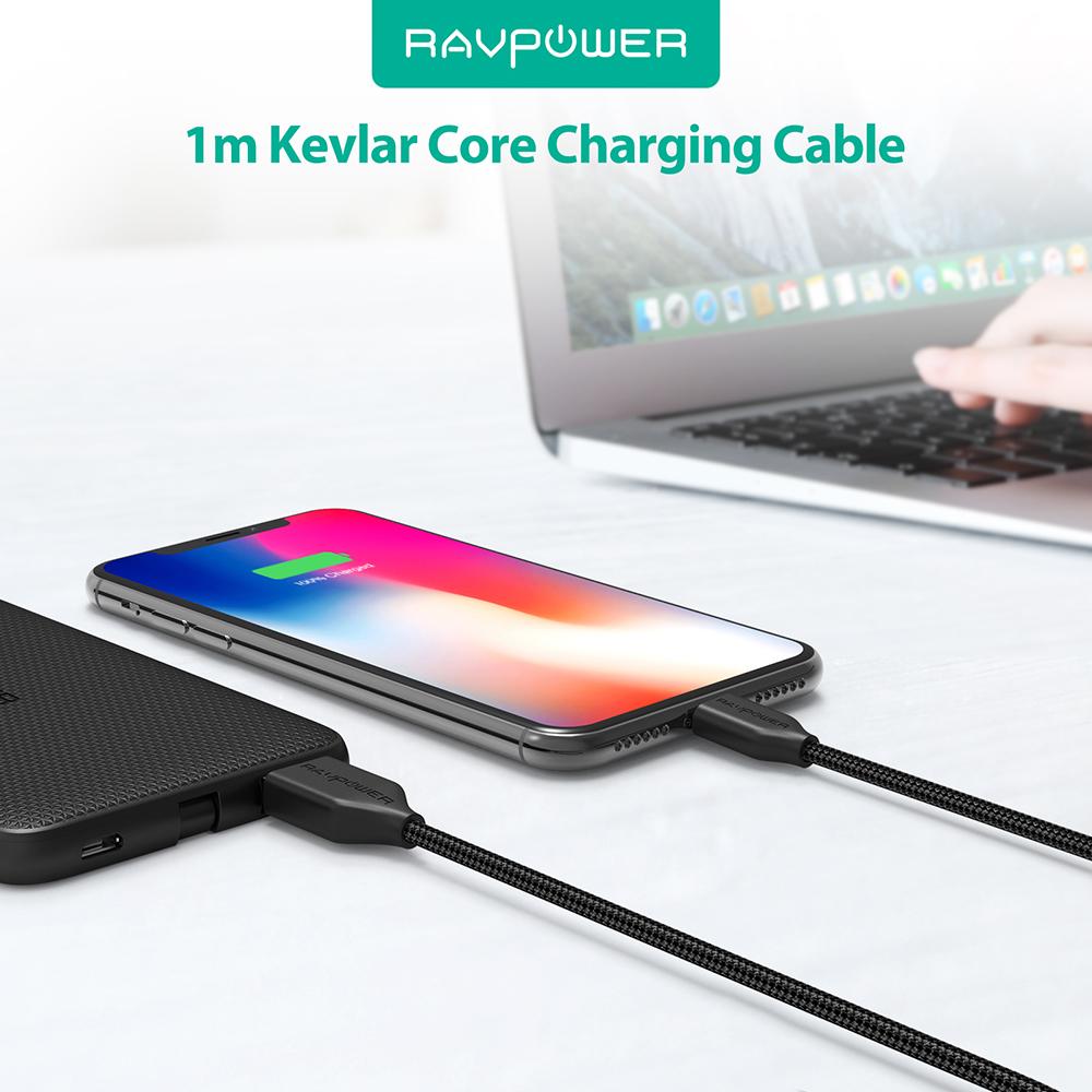 Dây Cáp Sạc Lightning Cho Iphone RAVPower 0.9m RP-CB019 - Hàng Chính Hãng