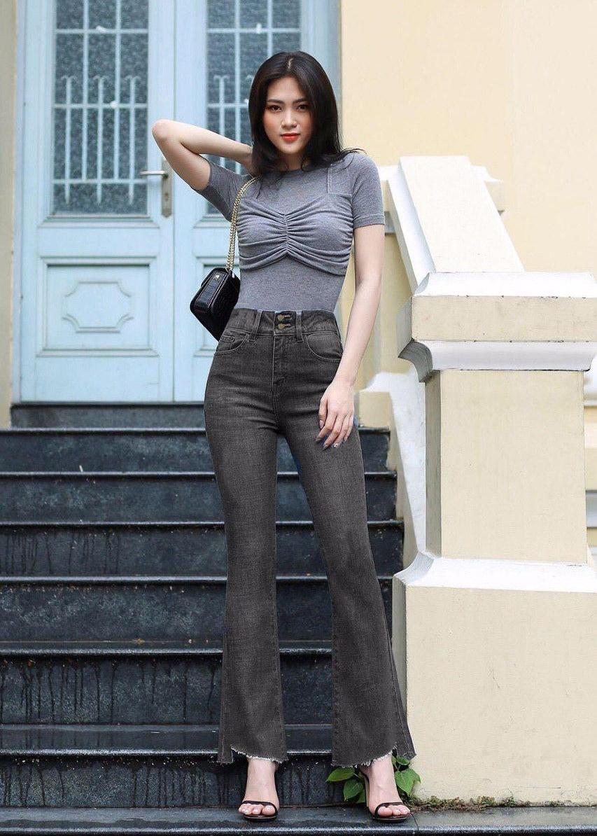 Quần jean nữ ống loe lưng cao lai kiểu 4