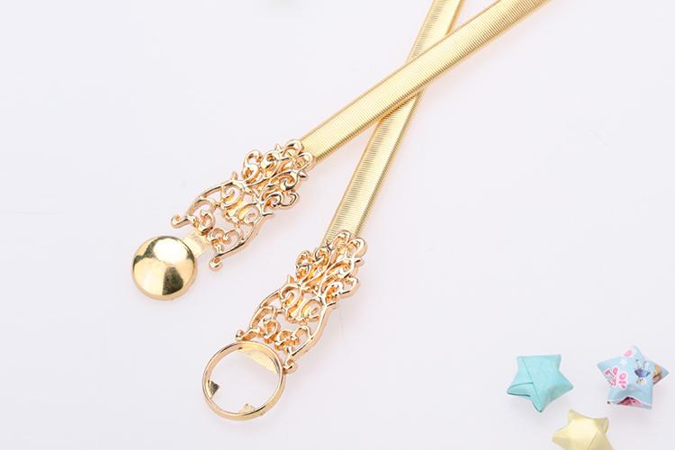 New Fashion Women Waist Belt Chain Metal Gold Tone Hollow Out Stretchy Slim Elegant Belt Band Golden