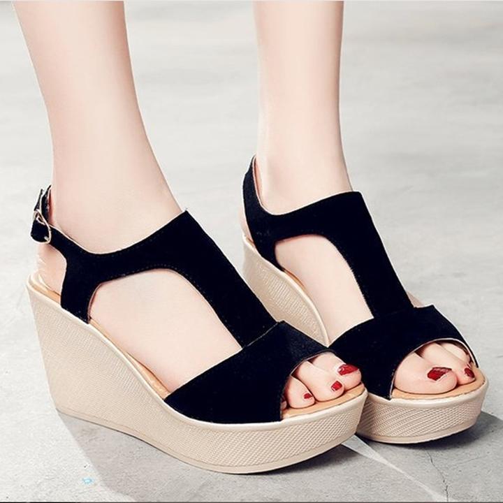 Giày Sandals nữ đế xuồng cao 7cm quai chữ T da lộn siêu nhẹ C33 3