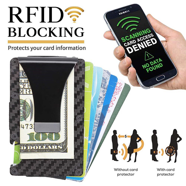 RFID Blocking Bank Credit Card Holder Case Metal Slim Travel Wallet Money Clip