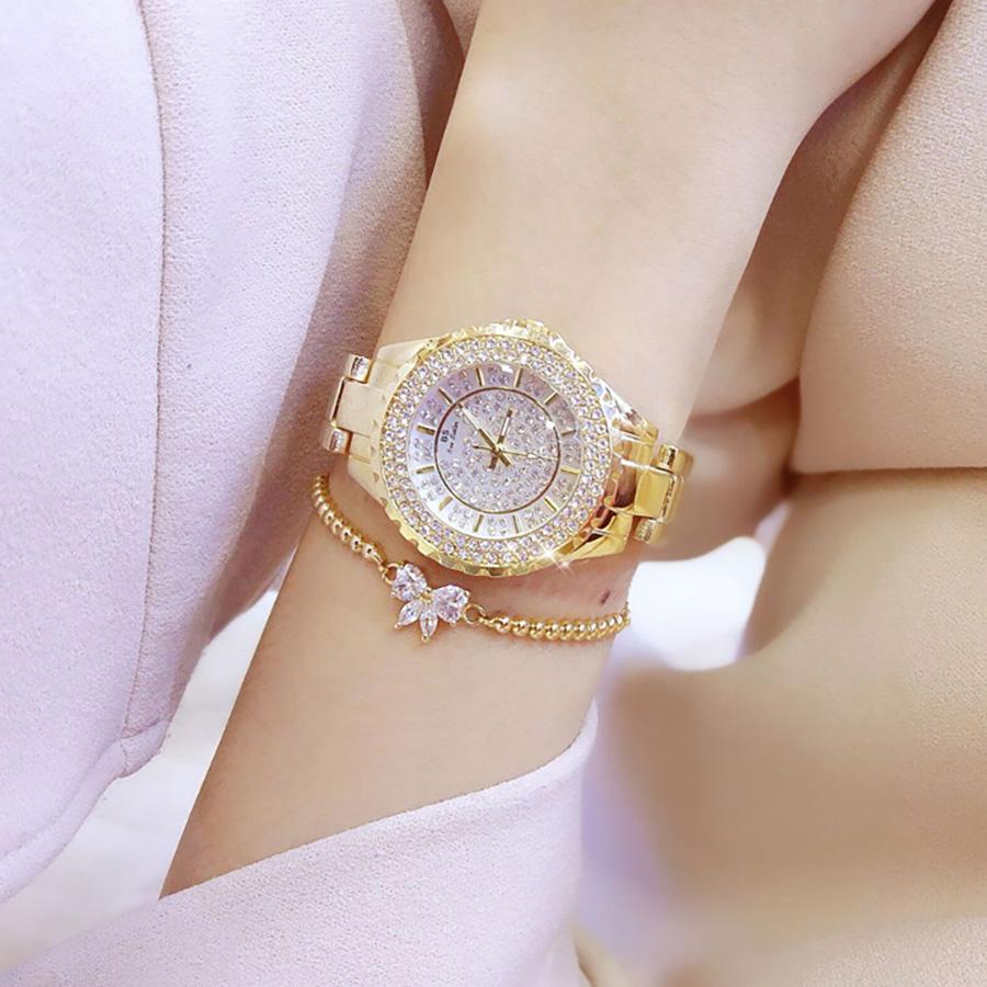 Đồng hồ nữ đính đá pha lê cao cấp (Vàng) 4