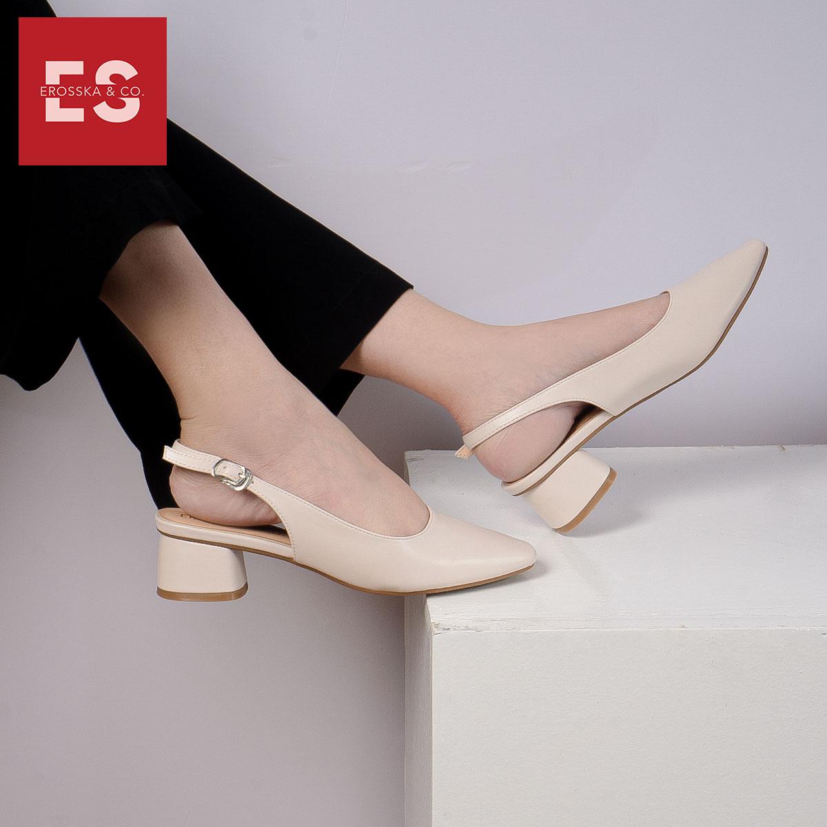 Giày nư , gia y cao gót slingback Erosska mũi vuông kiểu dáng basic gót vuông vững chắc cao 5cm - EL013 3