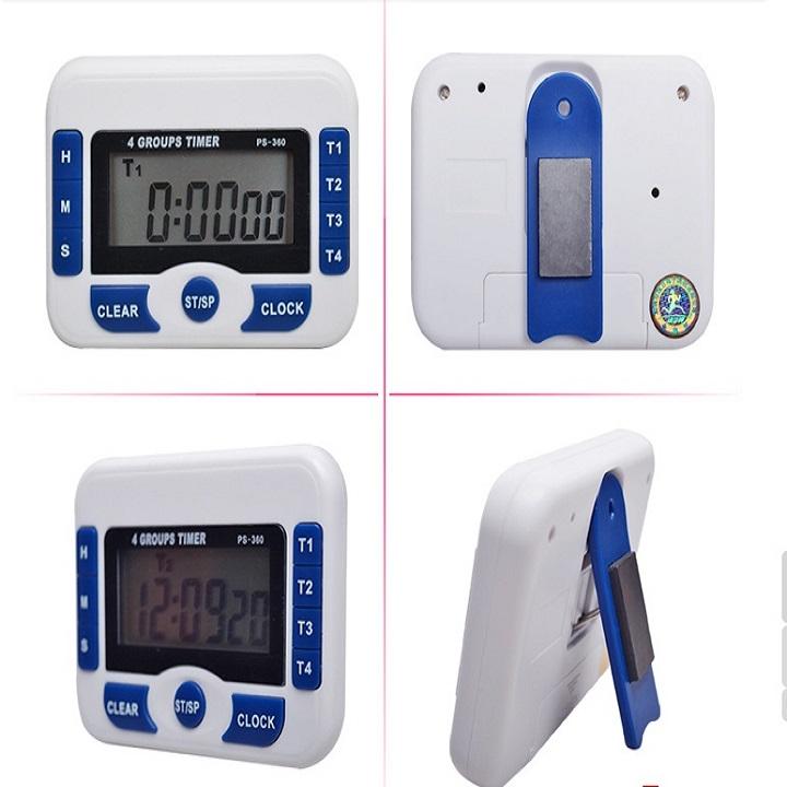 Đồng hồ đếm ngược 4 kênh, dùng pin cúc áo tặng kèm đèn 4 led dán tường , dán ô tô 2
