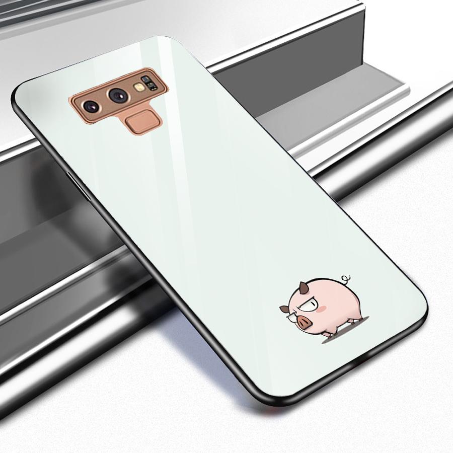 Ốp kính cường lực dành cho điện thoại Samsung Galaxy Note 9 - heo hồng - hh008