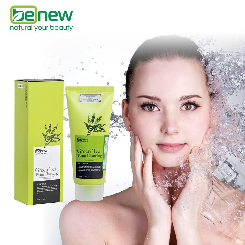 Combo Sữa rửa mặt Benew Green Tea+Bông bọt biển Aroma