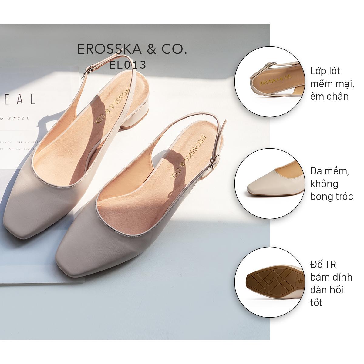 Giày nư , gia y cao gót slingback Erosska mũi vuông kiểu dáng basic gót vuông vững chắc cao 5cm - EL013 1