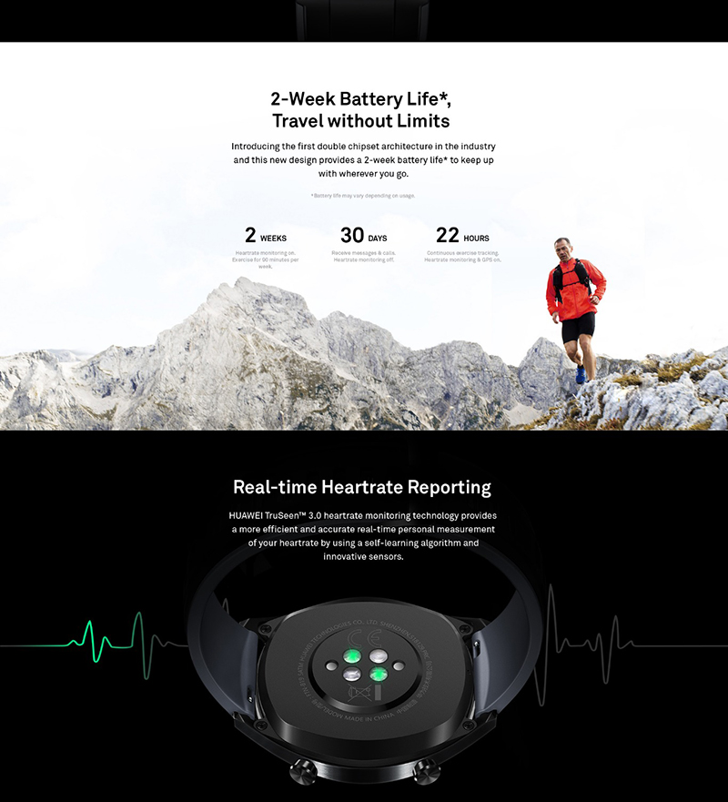 HUAWEI WATCH GT sports black outdoor sports watch real-time heart rate HD color screen + sleep / pressure monitoring + smart remin