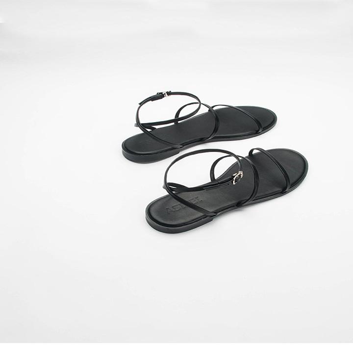 Sandal Nữ Quai Mảnh Đế Bệt Black Basic 6