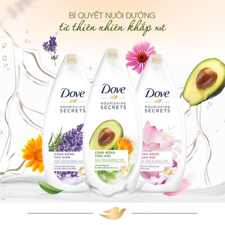 Combo 02 Sữa Tắm Dove Căng Bóng Tươi Mới - Bơ 530G