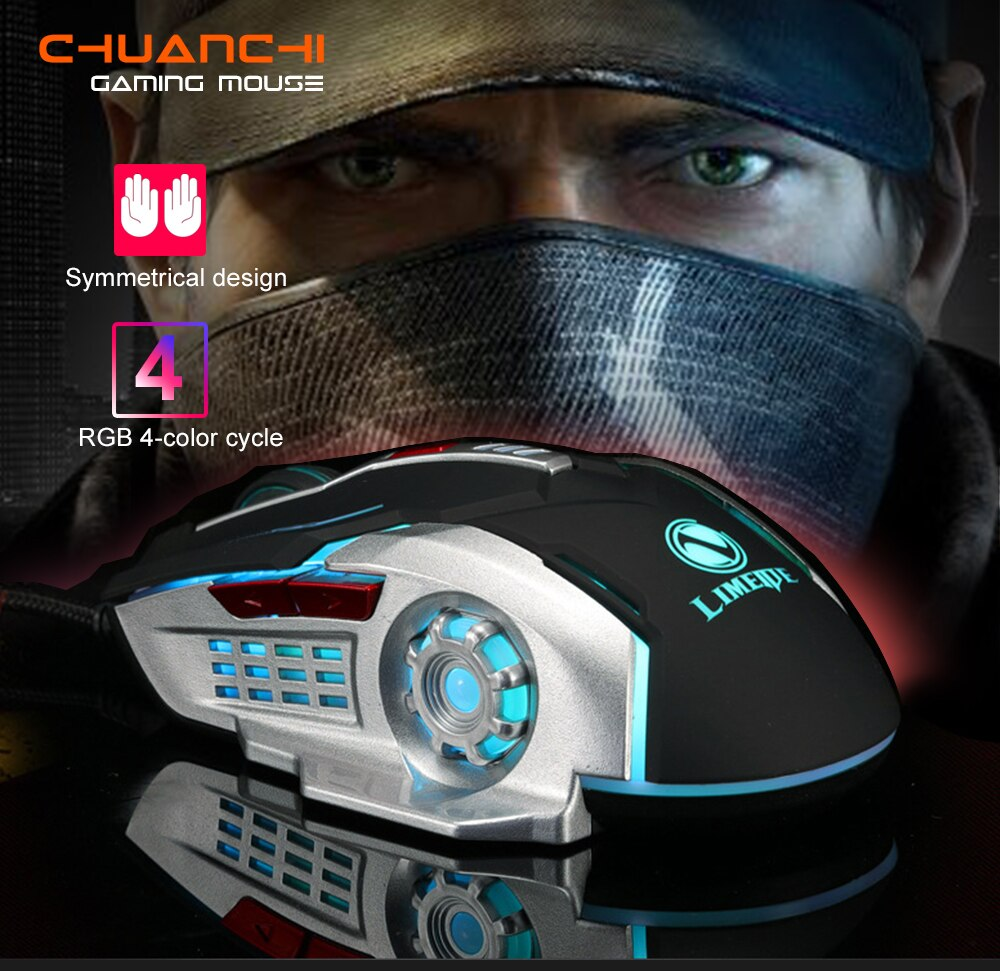 Chuột Chơi Game Có Dây 6 Nút 2400 DPI Limeide V2 - Hàng Nhập Khẩu 1