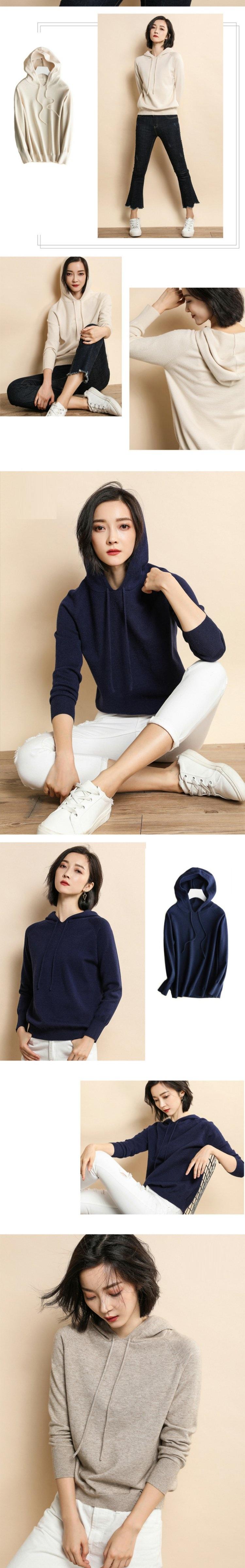 Áo hoodie len nữ LAHstore, chất len mêm mịn ấm áp, thời trang trẻ, phong cách Hàn Quốc 4
