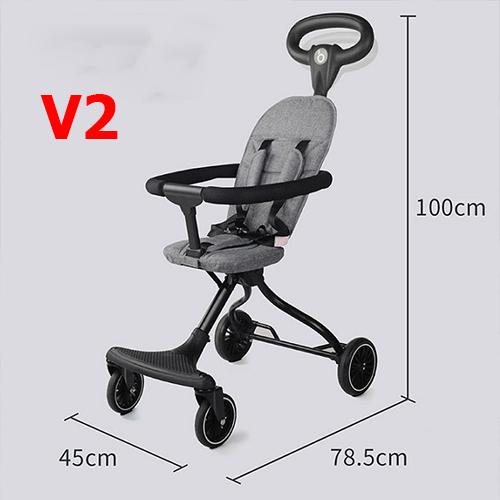 Xe đẩy đi dạo cao cấp gấp gọn nhẹ, ghế ngồi đệm V2 5