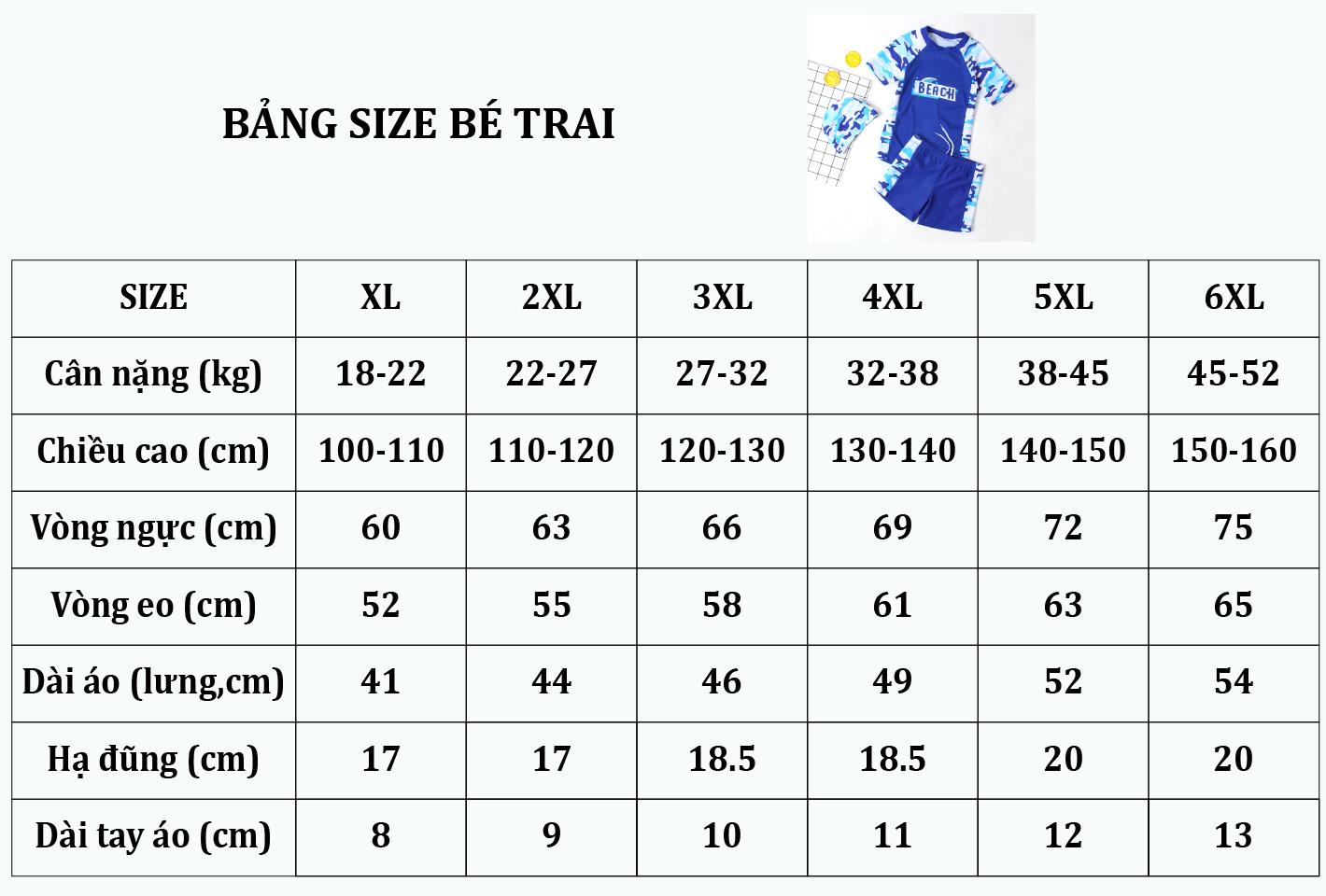Bảng size