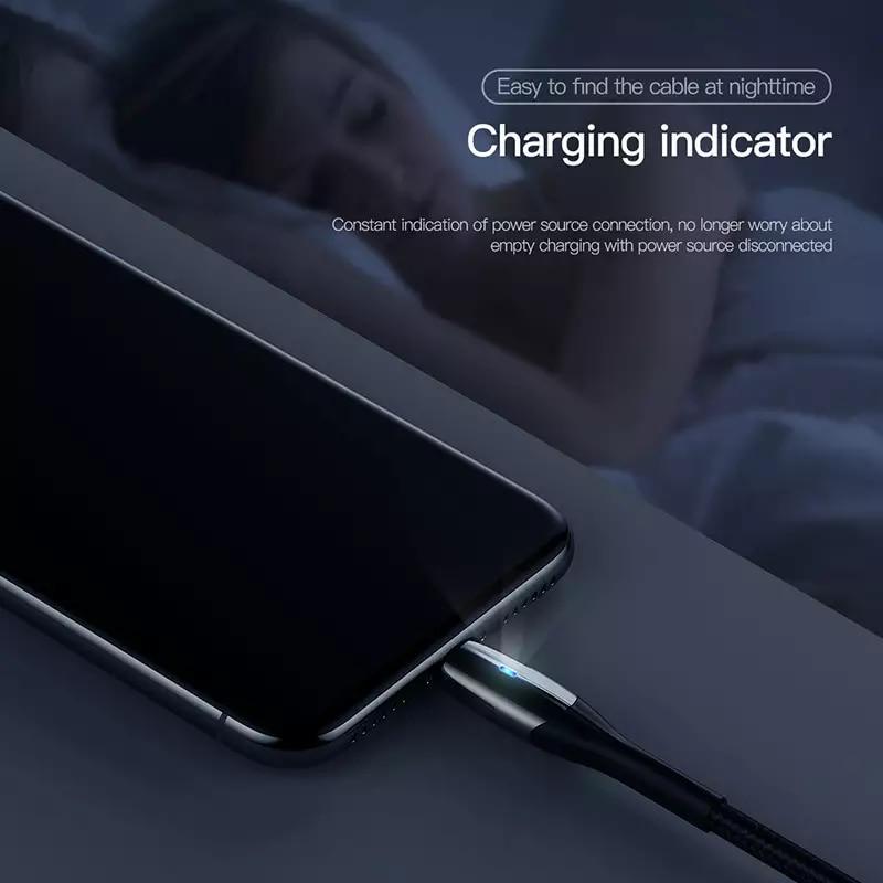 Cáp sạc và truyền dữ liệu tốc độ cao Baseus Lightning Horizontal Data cho iPhone/ iPad (sạc nhanh 2.4A, LED báo sạc)- Hàng Chính Hãng