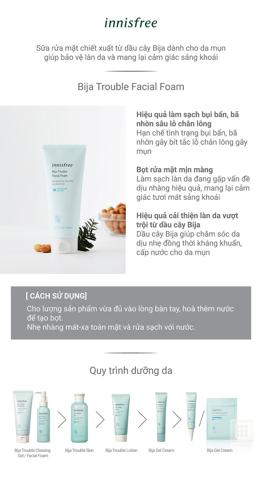 Sữa Rửa Mặt Dành Cho Da Mụn Innisfree Bija Trouble Facial Foam 150ml - 131171093