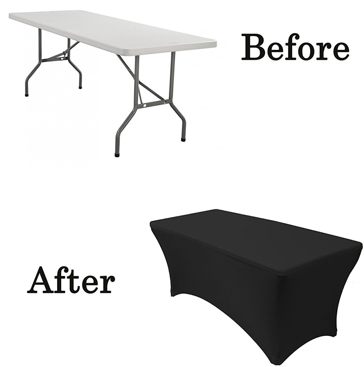 Outdoor Wedding Party Stretch Black Tablecloth Bar Cocktail Table Cover