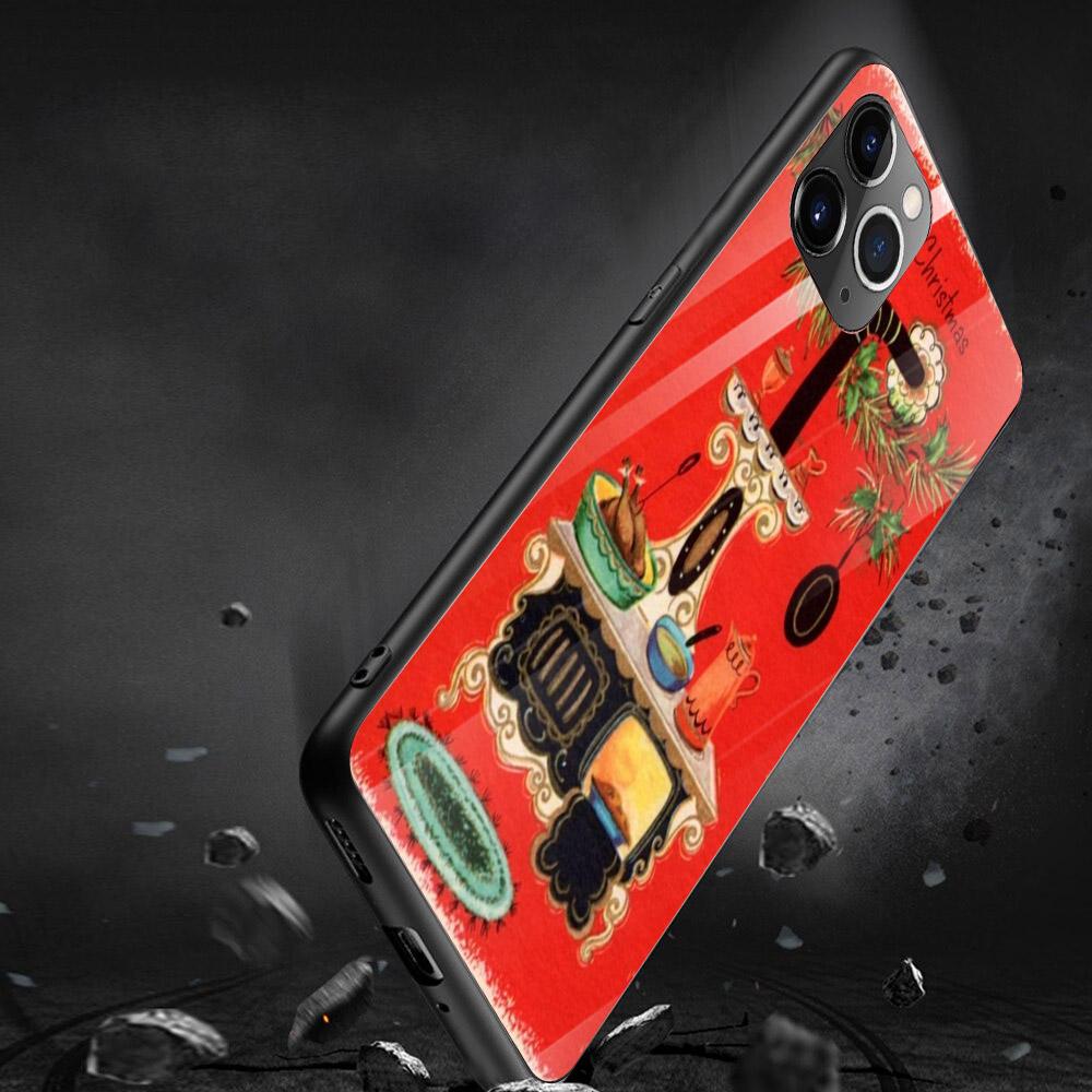 Ốp điện thoại kính cường lực cho máy iPhone 11 Pro Pro Pro - giáng sinh đầm ấm MS GSDA023