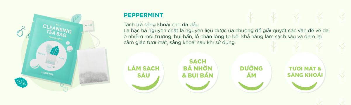 Túi Trà Rửa Mặt Cleansing Tea Bag Peppermint (2g)