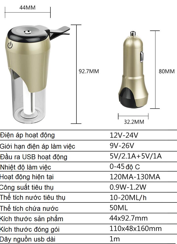Máy tạo độ ẩm dành cho ô tô (Màu ngẫu nhiên) - tặng kèm đèn pin bóp tay 6