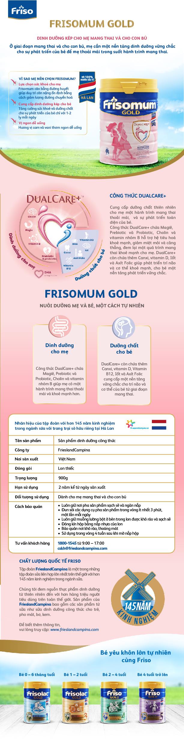 Sữa Bột Friso mum Gold Hương Vani (900g)