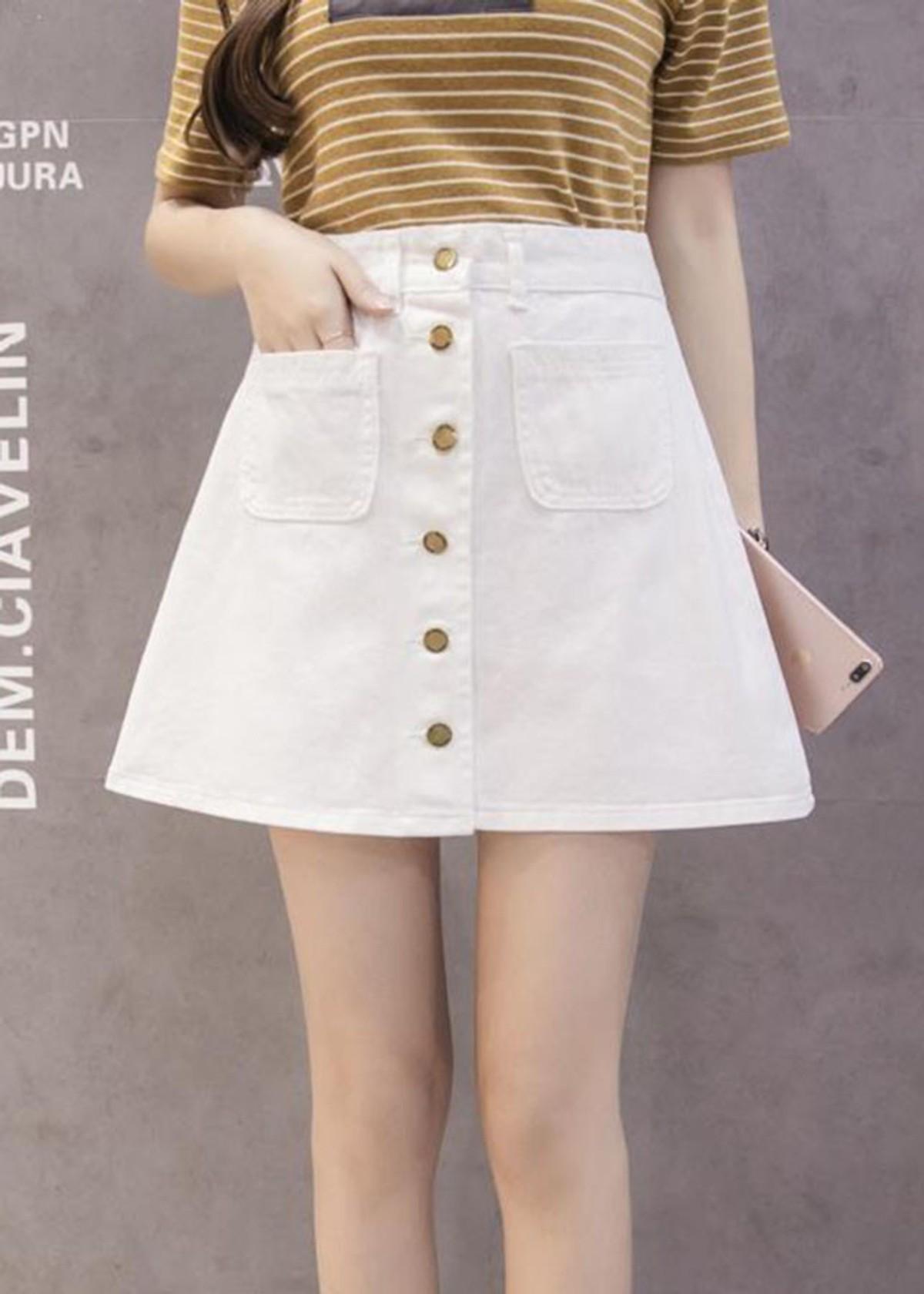 Chân váy chữ A LAHstore, chất liệu vải jeans thô bền bỉ, phong cách Hàn Quốc, thời trang trẻ 1