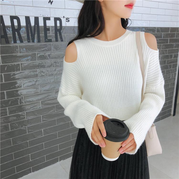 Áo len nữ dài tay khoét vai, Freesize 2