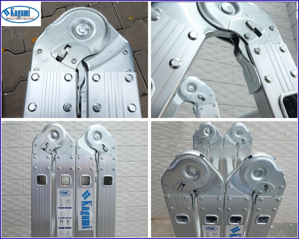 Hệ thống khóa trên thang gấp khúc Kagami được gia công tinh tế, an toàn, dễ sử dụng