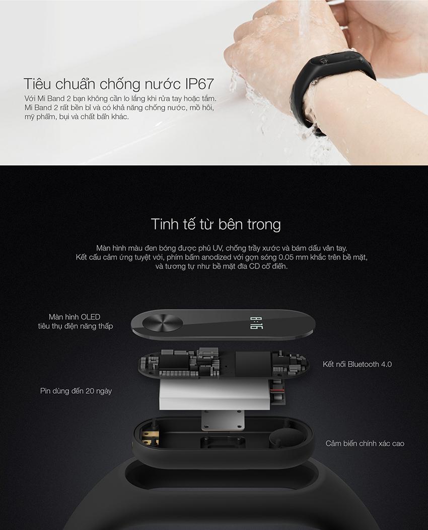 Vòng Đeo Tay Thông Minh Xiaomi Mi Band 2 (Đen) - Hàng Chính Hãng