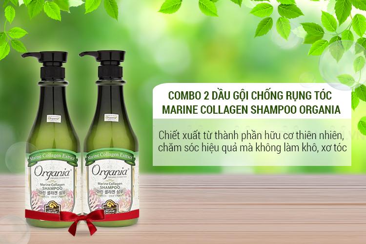 Combo 2 Dầu Gội Chống Rụng Tóc Marine Collagen Shampoo Organia