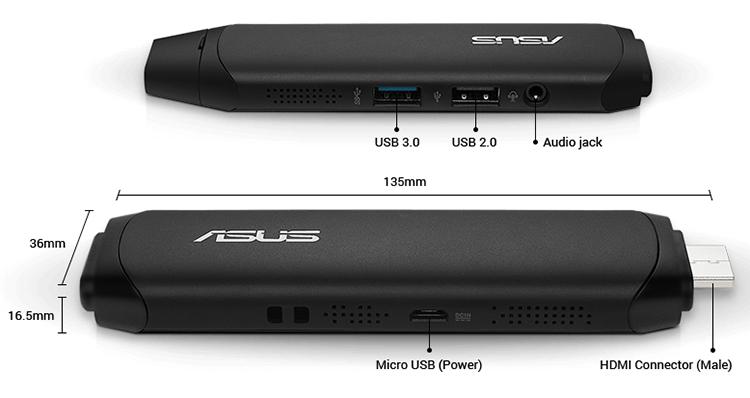 Máy Tính Bàn Asus Vivo Stick TS10-B048D 90MA0021-M00480 ATOM-2GB-32GB - Hàng Chính Hãng