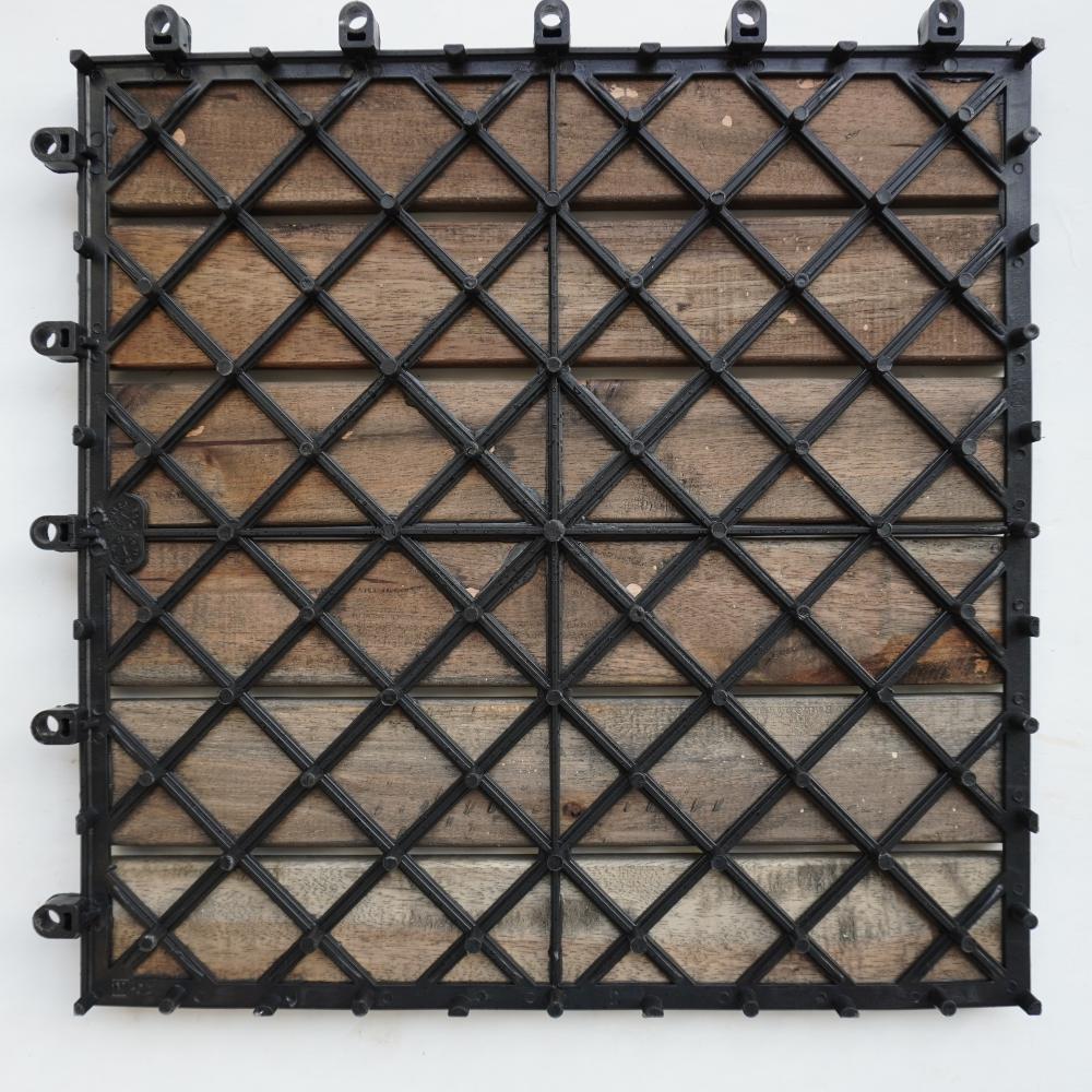 Vỉ gỗ lót sàn ban công màu đen (6 nan)