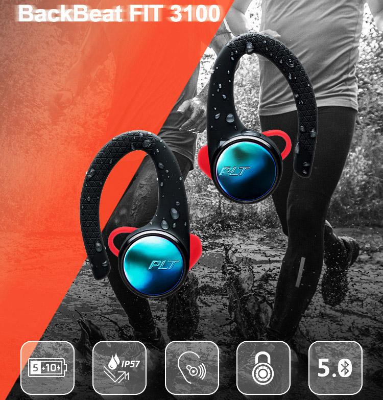 Plantronics BackBeat FIT 3100 Sports True Wireless Bluetooth Headset Stereo Headphones Music Headphones Universal Bilateral In-Ear Gray