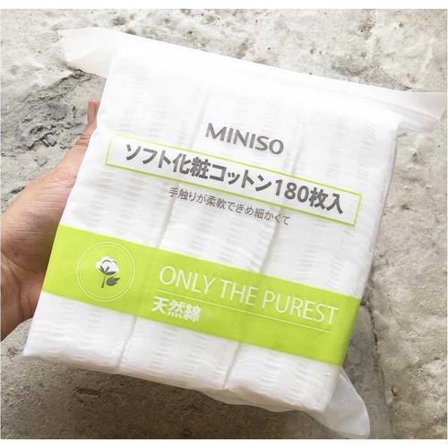 Một túi bông tẩy trang 180 miếng 3 lớp Miniso only the purest 5
